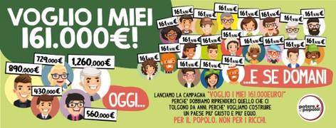 """""""VOGLIO I MIEI 161MILA EURO!"""" Potere al Popolo lancia la campagna per la redistribuzione della ricchezza"""