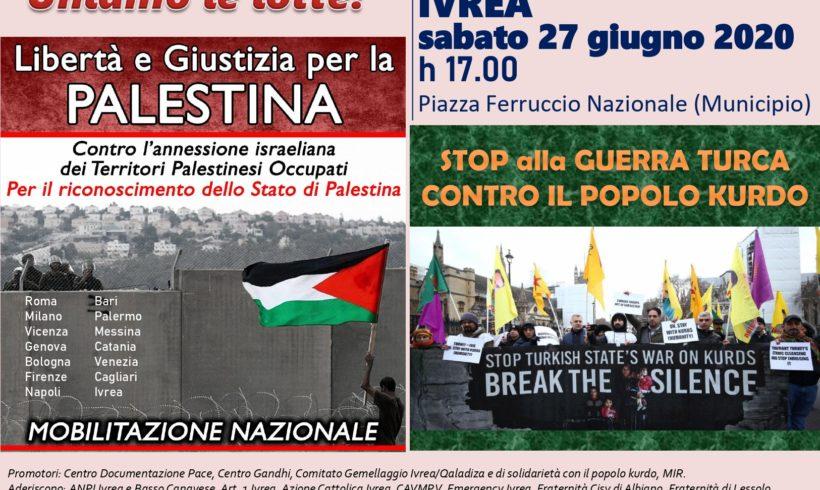 Anche a Ivrea manifestazione per il Popolo Palestinese e il popolo Kurdo