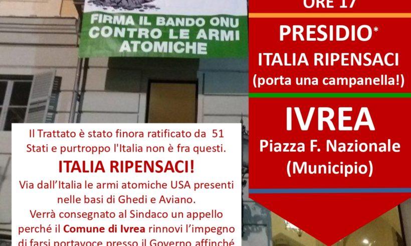 Presidio a Ivrea venerdì 22 gennaio per la ratifica del Trattato di disarmo nucleare