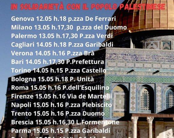 Contro la pulizia etnica e contro l'apartheid israeliana: sabato 15 maggio a Torino presidio in piazza Castello alle ore 15